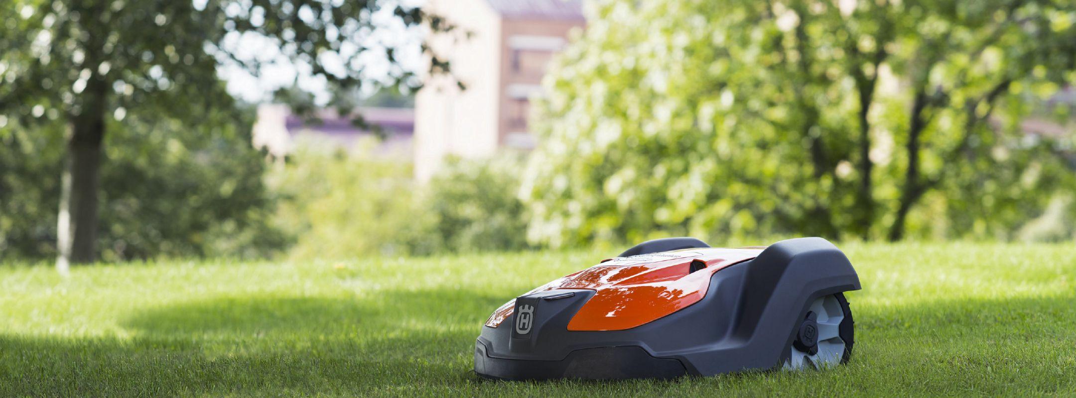 Robot de tonte dans un grand jardin